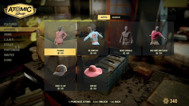 The Atomic Shop offers a lot of new costumes and skins. - Are there microtransactions in Fallout 76? - FAQ - Fallout 76 Guide