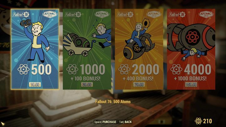 Atoms can be bought is several quantities. - Are there microtransactions in Fallout 76? - FAQ - Fallout 76 Guide