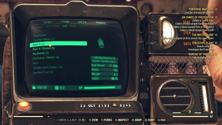 Rad-X provides temporary radiation protection. - How to tackle radiation in Fallout 76? - FAQ - Fallout 76 Guide
