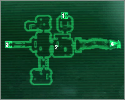 Map legend: 1 - starting area and exit to: Vault 101 - atrium - Main quests 4: Escape! - Main quests - Fallout 3 - Game Guide and Walkthrough