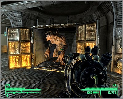 If you rescued supermutant Fawkes during the previous main quest, you will now notice him shooting at Enclave soldiers in front of the Raven Rock facility (screen) - Main quests 12: The American Dream - Main quests - Fallout 3 - Game Guide and Walkthrough