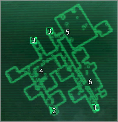Map legend: 1 - door to Rivet City market - Rivet City - Detailed maps - Fallout 3 - Game Guide and Walkthrough