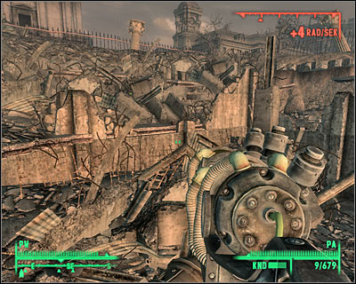 You can see in the upper right corner of the screen how much radiation you're receiving per second. Avoid exploring areas with high radiation. - Threats - Other - Fallout 3 - Game Guide and Walkthrough