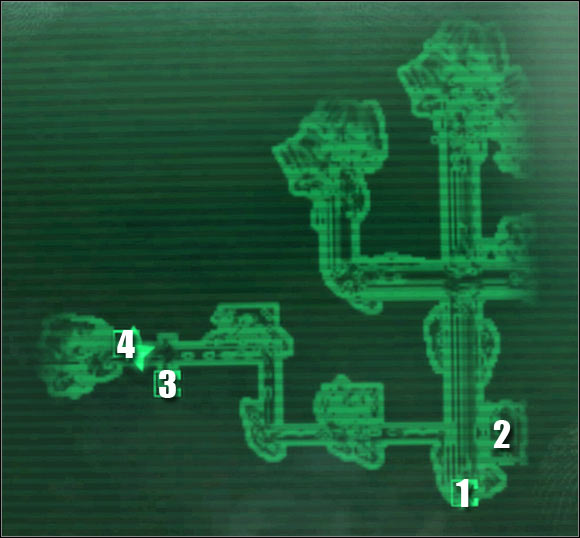 Map legend: 1 - entrance to the tunnels - Main quests - QUEST 3: Who Dares Wins - part 1 - Main quests - Fallout 3: Broken Steel - Game Guide and Walkthrough