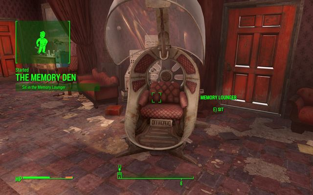 Sit on the open chair - Memory Den - Side quests in Goodneighbor - Fallout 4 Game Guide & Walkthrough
