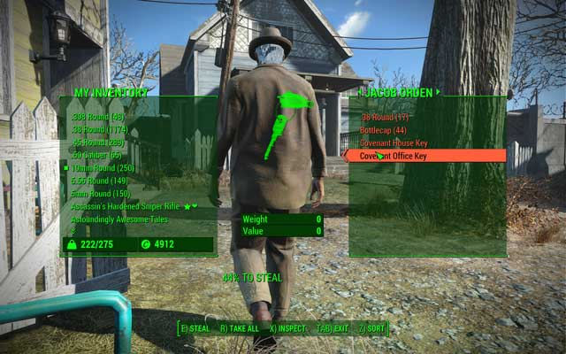 An example screen of checking someones possession when stealing - Sneaking up and pickpocketing - Basic Information - Fallout 4 Game Guide & Walkthrough