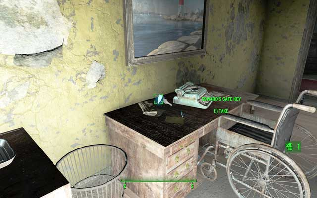 One of the keys on the desk in the room - Sandy Coves Convalescent House - Salem - Sector 3 - Fallout 4 Game Guide & Walkthrough