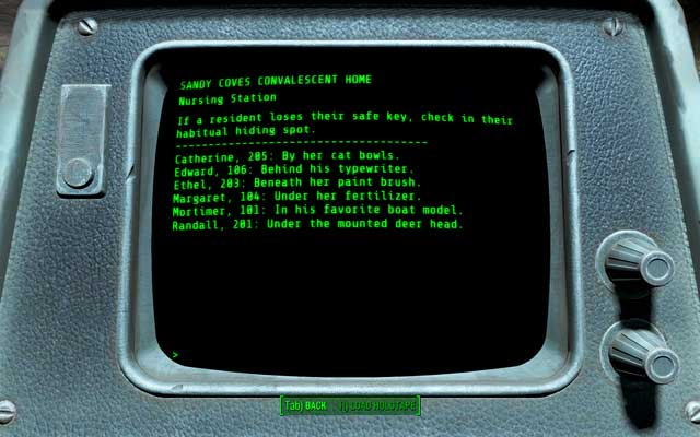 The original list of all keys from the terminal - Sandy Coves Convalescent House - Salem - Sector 3 - Fallout 4 Game Guide & Walkthrough