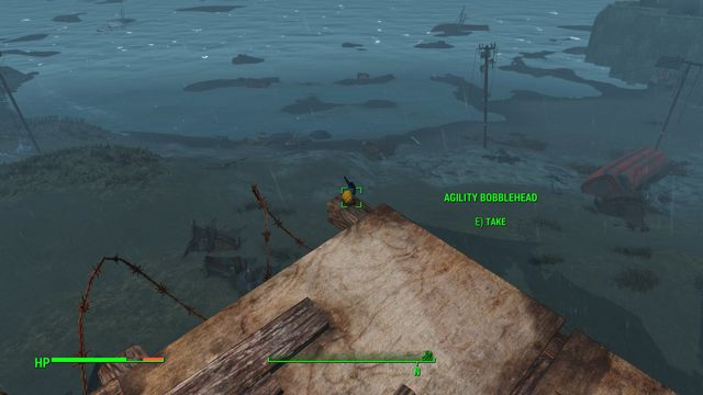 On the ships bow, in the outmost point, on the edge of the plank, you find an Agility Bobblehead - Wreck of the FMS Northern Star - Southern Boston - Sector 9 - Fallout 4 Game Guide & Walkthrough