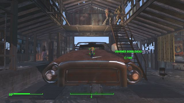 In the biggest of the garages, on the hood of the car in the center, you find an Unarmed Bobblehead - Atom Cats Garage - Southern Boston - Sector 9 - Fallout 4 Game Guide & Walkthrough