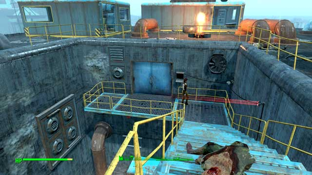 Entrance to the secret laboratory can be found at the stairs from the roof - Diamond City Blues - Side quests in Diamond City - Fallout 4 Game Guide & Walkthrough