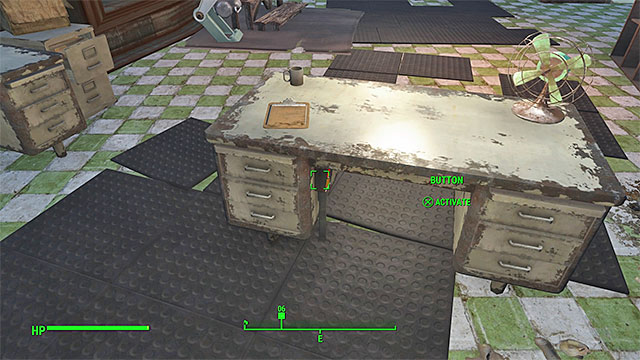 The button is under Genevas desk - In Sheeps Clothing - Side quests in Diamond City - Fallout 4 Game Guide & Walkthrough