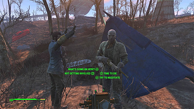 An example random event - a man suspected of being synth - Random events - Side quests in other locations - Fallout 4 Game Guide & Walkthrough