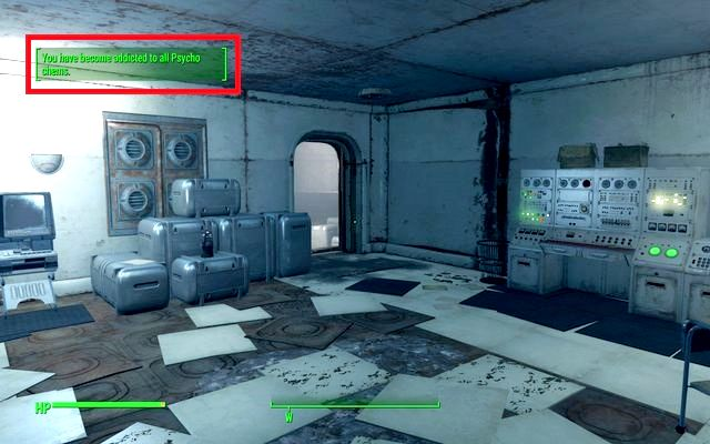When you become addicted to a specific chemical, you will be noticed about it in the upper left corner of the screen - Boosters (drugs and medicaments) and addictions - Combat - Fallout 4 Game Guide & Walkthrough
