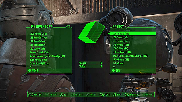 Example trading window - Interactions with other characters - Basic Information - Fallout 4 Game Guide & Walkthrough