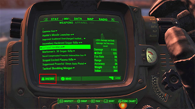 One of the most important factors related to equipment management is capacity - Equipment and Pip-Boy - Basic Information - Fallout 4 Game Guide & Walkthrough