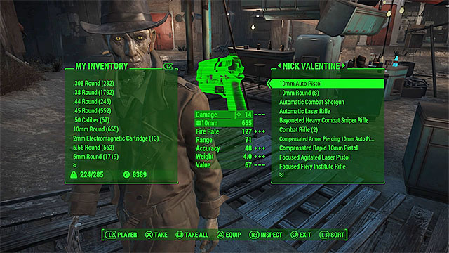 Hard equipment can be moved to your companions inventory (if his capacity limit allows that) - Equipment and Pip-Boy - Basic Information - Fallout 4 Game Guide & Walkthrough