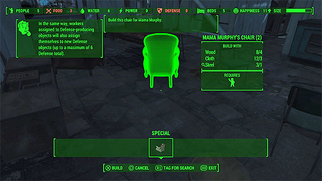 Place the chair somewhere inside the building - Mama Murphy - Minor quests for Minutemen faction - Fallout 4 Game Guide & Walkthrough