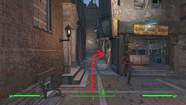 You will see a narrow alley between buildings while going from the main entrance to the street between Hancocks house and shops - The Big Dig - Side quests in Goodneighbor - Fallout 4 Game Guide & Walkthrough