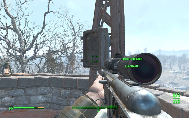 Activation of the warning signal on the top of the tower - Lynn Woods - Malden - Sector 2 - Fallout 4 Game Guide & Walkthrough