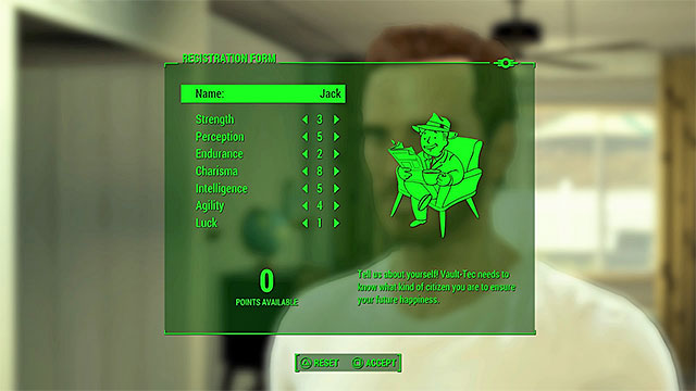 Name your character and distribute all the points between the main statistics - Prologue - Main story - Fallout 4 Game Guide & Walkthrough
