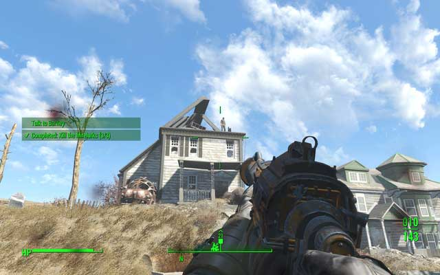 Barney on the rooftop of his house - Activate turrets in Salem (Rook Family House) - Side quests in other locations - Fallout 4 Game Guide & Walkthrough