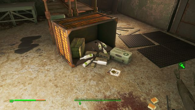 After you go down to the room below, around the flipped container, you find lots of cigarettes and alcohol - Boston Police Rationing Site - Center of Boston - Sector 6 - Fallout 4 Game Guide & Walkthrough