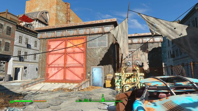 This is the former storage that is currently being inhabited by gunners or synths, depending on your character level - Hardware Town - Center of Boston - Sector 6 - Fallout 4 Game Guide & Walkthrough