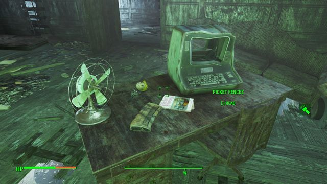 In one of the rooms at the first floor, on the desk, you find an issue of Picket Fences and a key to the storage - Hardware Town - Center of Boston - Sector 6 - Fallout 4 Game Guide & Walkthrough