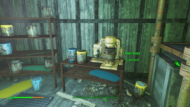 In the main room, there also is a paint mixer, where you can mix the yellow and the blue paints to obtain green, which you need for quest Painting the Town - Hardware Town - Center of Boston - Sector 6 - Fallout 4 Game Guide & Walkthrough