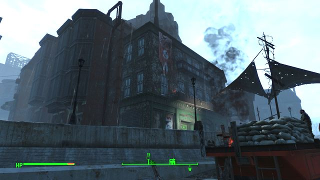 The building is occupied by a big group of gunners and you encounter them both inside and outside - Back Street Apparel - Center of Boston - Sector 6 - Fallout 4 Game Guide & Walkthrough