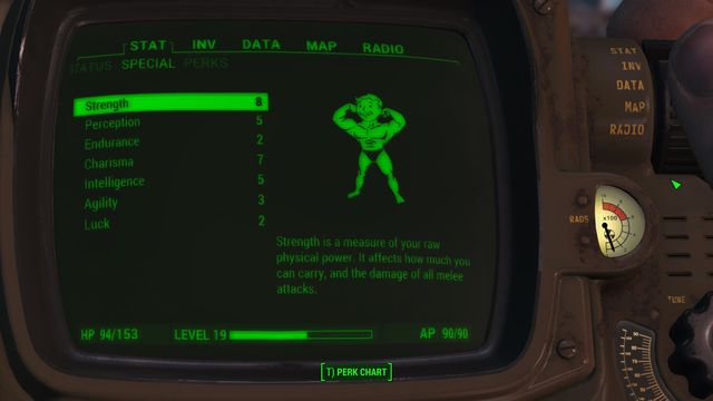 You can check your characters statistics in your Pip-Boy. This is also where you will distribute the points which you will receive after gaining new level. - S.P.E.C.I.A.L. - Basic Information - Fallout 4 Game Guide & Walkthrough