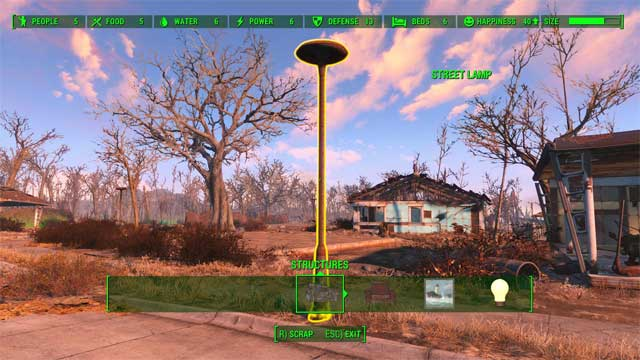 Structures marked with yellow color cannot be moved or stacked directly in the workshop. The ones marked with same color as interface color can be stacked. - Crafting - basics - Creating settlements - Fallout 4 Game Guide & Walkthrough