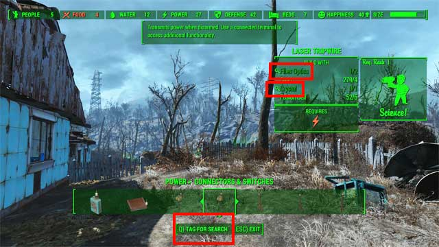 From now on, whenever you find an item containing one of the marked resources, a magnifier icon will also appear at its name (as shown on the picture below) - Crafting - basics - Creating settlements - Fallout 4 Game Guide & Walkthrough