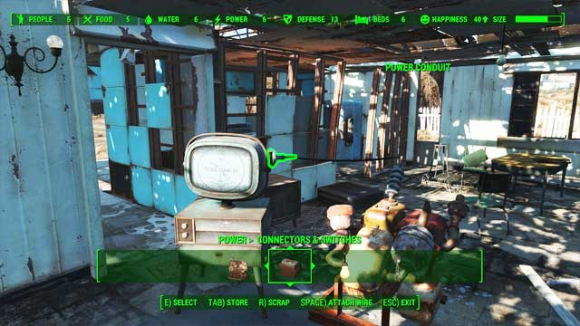 Turning the TV on is possible only after connecting an adapter to it. - Crafting - basics - Creating settlements - Fallout 4 Game Guide & Walkthrough