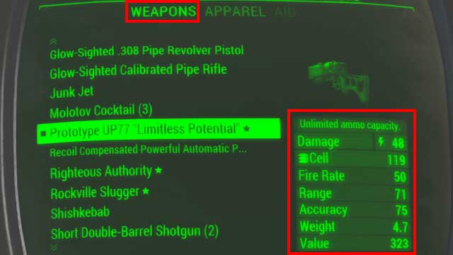 In order to obtain more detailed information during the game, such as number and type of modifications installed, after moving the crosshair on the weapon you must press [X] on the keyboard or press the right analog stick - General Information about Weapons and Upgrades - Weapons and Upgrades - Fallout 4 Game Guide & Walkthrough