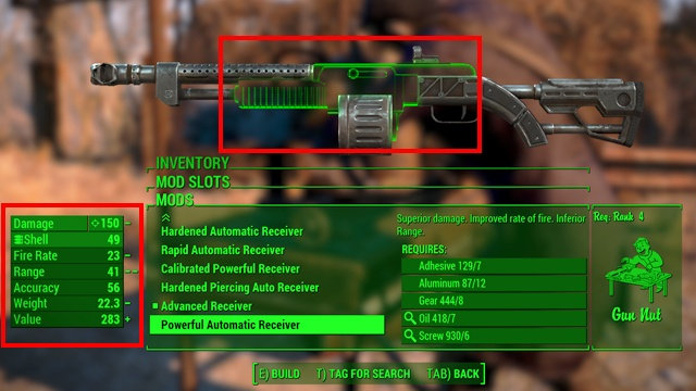 To perform a modification you must select an upgrade you are interested in and then the modify option - Weapon upgrading - Weapons and Upgrades - Fallout 4 Game Guide & Walkthrough