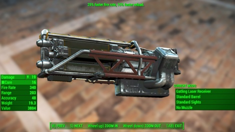Type: Gatling laser - Guns - heavy - Unique weapons - Fallout 4 Game Guide & Walkthrough