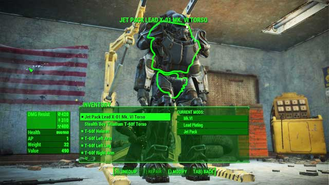 From that menu you can - Power Armor Crafting - Power Armor - Fallout 4 Game Guide & Walkthrough