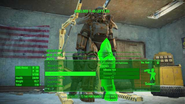 To gain access to all material modifications, develop Science - Power Armor Crafting - Power Armor - Fallout 4 Game Guide & Walkthrough