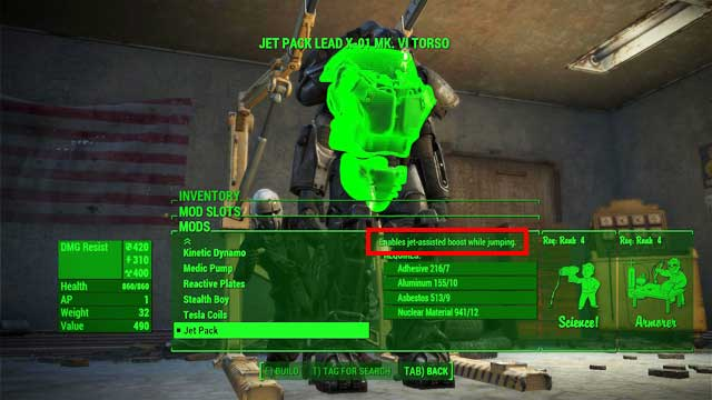 To gain access to all special modifications you must develop following perks: Science - Power Armor Crafting - Power Armor - Fallout 4 Game Guide & Walkthrough