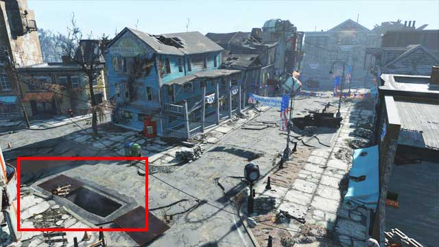 On the picture you can see the location of the entrance to the sewers. Ahead you can see the Museum of Freedom. - Where to find core fusions at the beginning of the game? - Power Armor - Fallout 4 Game Guide & Walkthrough