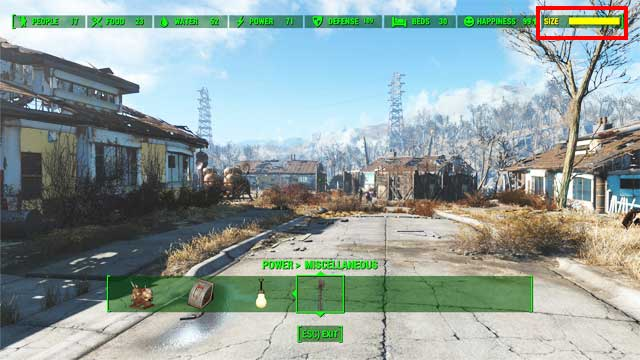 The easiest way to do it is by placing many gates that can be found in the Structures-Fences-Junk fence section (only steel and wood is required for building them) - How to get the Benevolent Leader achievement? - Appendix - Fallout 4 Game Guide & Walkthrough