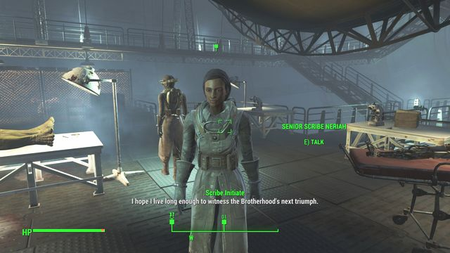 Neriah can be found on the upper deck of the main ship Prydwen - Find good quality blood samples for scribe Neriah - Minor quests for Brotherhood of Steel faction - Fallout 4 Game Guide & Walkthrough