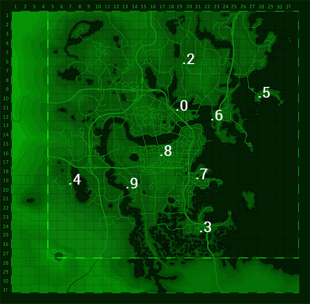 The map above presents the places on the world map which you must visit in order to find the nine remaining Eddie Winter holotapes (the tape number 1 was given to you at the start of the quest by Nick Valentine) - Long Time Coming - Nick Valentine - Minor quests for Institute faction - Fallout 4 Game Guide & Walkthrough