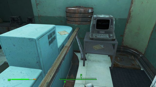 Also at the bottom, but this time in one of the corners of the room, you will find an advanced safe - Federal Surveillance Center K-21B - The Glowing Sea - Sector 8 - Fallout 4 Game Guide & Walkthrough