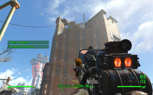One of the targets will be located on the top of the building, in a place you cannot reach - you must use rocket launcher or shoot him down when he will be visible - To The Mattresses - Minor quests for Railroad faction - Fallout 4 Game Guide & Walkthrough