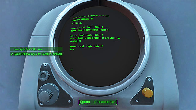 Keep checking the terminals until the quest is updated - Plugging a Leak - Minor quests for Institute faction - Fallout 4 Game Guide & Walkthrough