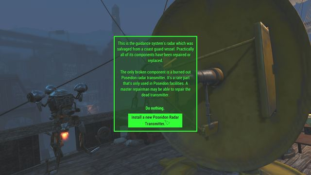 You can repair the antenna without any parts, as long as your Intelligence level is 9 or above - Last Voyage of the USS Constitution (USS Constitution) - Side quests in other locations - Fallout 4 Game Guide & Walkthrough
