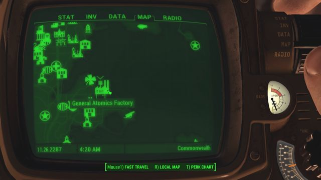 You now need to go to General Atomics Factory, quite far away Southwards, and enter - Last Voyage of the USS Constitution (USS Constitution) - Side quests in other locations - Fallout 4 Game Guide & Walkthrough
